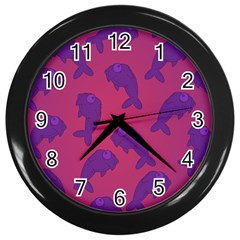 Fluffy Stuffie Animals Purple Pink Wall Clocks (black) by AnjaniArt