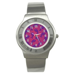 Fluffy Stuffie Animals Purple Pink Stainless Steel Watch by AnjaniArt