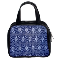 Flower Chevron Wave Blue Classic Handbags (2 Sides) by AnjaniArt