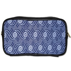 Flower Chevron Wave Blue Toiletries Bags 2 Side by AnjaniArt
