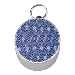 Flower Chevron Wave Blue Mini Silver Compasses by AnjaniArt