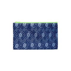 Flower Chevron Wave Blue Cosmetic Bag (xs) by AnjaniArt