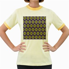 Background Colour Star Flower Purple Yellow Women s Fitted Ringer T-Shirts by AnjaniArt
