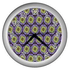 Background Colour Star Flower Purple Yellow Wall Clocks (silver)  by AnjaniArt