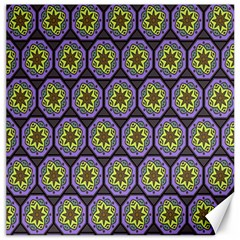 Background Colour Star Flower Purple Yellow Canvas 12  X 12   by AnjaniArt