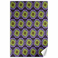 Background Colour Star Flower Purple Yellow Canvas 24  X 36  by AnjaniArt