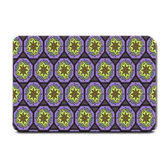 Background Colour Star Flower Purple Yellow Small Doormat  by AnjaniArt