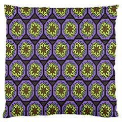 Background Colour Star Flower Purple Yellow Large Cushion Case (two Sides) by AnjaniArt