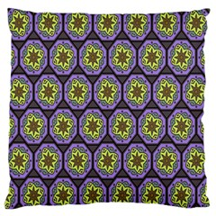 Background Colour Star Flower Purple Yellow Large Flano Cushion Case (one Side) by AnjaniArt