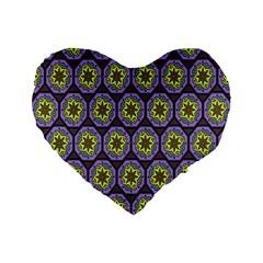 Background Colour Star Flower Purple Yellow Standard 16  Premium Flano Heart Shape Cushions by AnjaniArt
