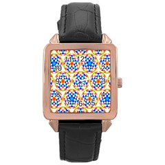 Background Colour Circle Rainbow Rose Gold Leather Watch  by AnjaniArt