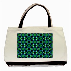 Background Star Colour Green Blue Basic Tote Bag by AnjaniArt