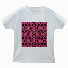 Background Colour Star Pink Flower Kids White T Shirts by AnjaniArt