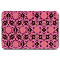 Background Colour Star Pink Flower Large Doormat  by AnjaniArt