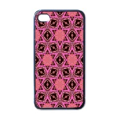 Background Colour Star Pink Flower Apple Iphone 4 Case (black) by AnjaniArt