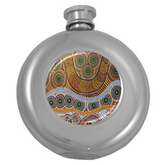 Batik Round Hip Flask (5 Oz) by AnjaniArt