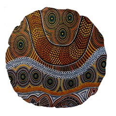Batik Large 18  Premium Round Cushions by AnjaniArt
