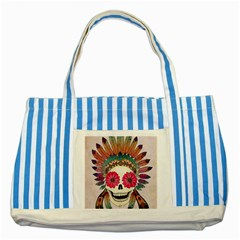Tribal Hipster Colorful Skull Striped Blue Tote Bag by Brittlevirginclothing