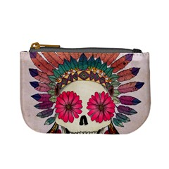 Tribal Hipster Colorful Skull Mini Coin Purses by Brittlevirginclothing