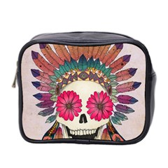 Tribal Hipster Colorful Skull Mini Toiletries Bag 2 Side by Brittlevirginclothing