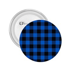 Black Blue Check Woven Fabric 2 25  Buttons by AnjaniArt