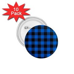 Black Blue Check Woven Fabric 1 75  Buttons (10 Pack) by AnjaniArt