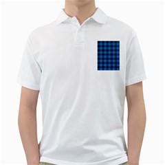 Black Blue Check Woven Fabric Golf Shirts by AnjaniArt