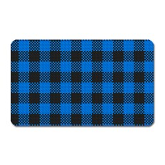 Black Blue Check Woven Fabric Magnet (rectangular) by AnjaniArt