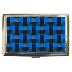 Black Blue Check Woven Fabric Cigarette Money Cases by AnjaniArt