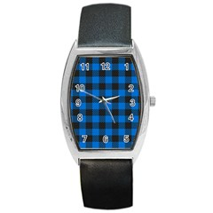 Black Blue Check Woven Fabric Barrel Style Metal Watch by AnjaniArt