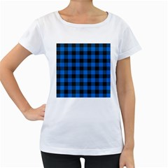Black Blue Check Woven Fabric Women s Loose Fit T Shirt (white) by AnjaniArt