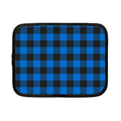 Black Blue Check Woven Fabric Netbook Case (small)  by AnjaniArt