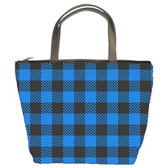 Black Blue Check Woven Fabric Bucket Bags by AnjaniArt