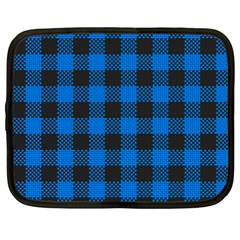 Black Blue Check Woven Fabric Netbook Case (xxl)  by AnjaniArt