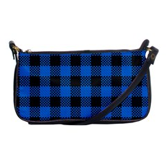 Black Blue Check Woven Fabric Shoulder Clutch Bags by AnjaniArt