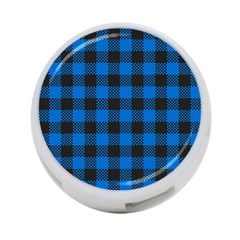 Black Blue Check Woven Fabric 4 Port Usb Hub (one Side) by AnjaniArt