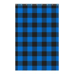 Black Blue Check Woven Fabric Shower Curtain 48  x 72  (Small)  by AnjaniArt