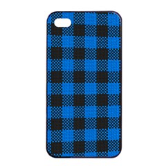 Black Blue Check Woven Fabric Apple Iphone 4/4s Seamless Case (black) by AnjaniArt