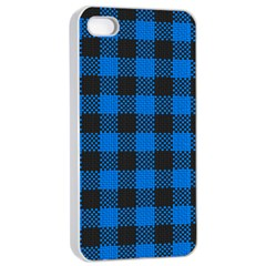 Black Blue Check Woven Fabric Apple Iphone 4/4s Seamless Case (white) by AnjaniArt