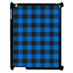 Black Blue Check Woven Fabric Apple Ipad 2 Case (black) by AnjaniArt