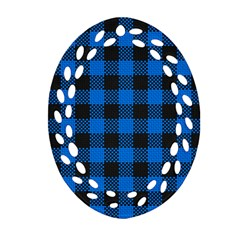Black Blue Check Woven Fabric Oval Filigree Ornament (two Sides) by AnjaniArt