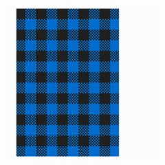 Black Blue Check Woven Fabric Small Garden Flag (two Sides) by AnjaniArt
