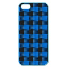 Black Blue Check Woven Fabric Apple Seamless Iphone 5 Case (color) by AnjaniArt