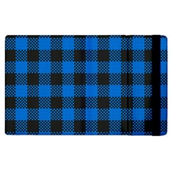 Black Blue Check Woven Fabric Apple Ipad 2 Flip Case by AnjaniArt