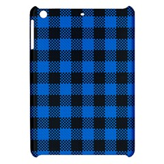 Black Blue Check Woven Fabric Apple Ipad Mini Hardshell Case by AnjaniArt