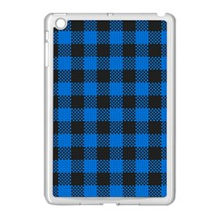 Black Blue Check Woven Fabric Apple Ipad Mini Case (white) by AnjaniArt