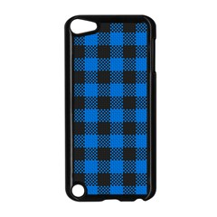 Black Blue Check Woven Fabric Apple Ipod Touch 5 Case (black) by AnjaniArt