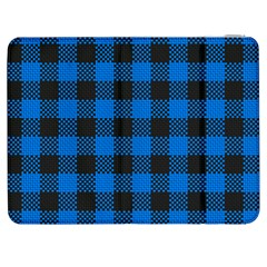 Black Blue Check Woven Fabric Samsung Galaxy Tab 7  P1000 Flip Case by AnjaniArt