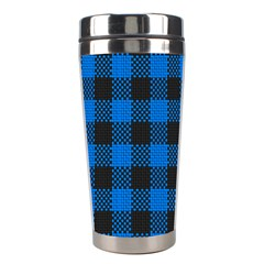 Black Blue Check Woven Fabric Stainless Steel Travel Tumblers by AnjaniArt