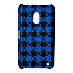 Black Blue Check Woven Fabric Nokia Lumia 620 by AnjaniArt